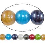 Beads praruar Lampwork, Round, i praruar, ngjyra të përziera, 14mm, : 2-2.5mm, :12.5Inç, 10Fillesat/Shumë,  Shumë