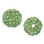 Rrëshirë Beads diamant i rremë, Rrëshirë diamant i rremë, Round, asnjë, me diamant i rremë, aqua gjelbër, 10mm, : 3mm, 50PC/Qese,  Qese