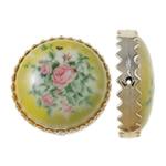 Beads Printime akrilik, Round Flat, shtypje, i verdhë, 38x12mm, : 2mm, 78PC/Qese,  Qese