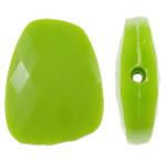 Beads Solid Color akrilik, Trapez, asnjë, ngjyra të forta, e gjelbër, 23.40x30x8mm, : 2mm, 215PC/Qese,  Qese