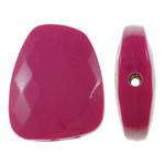 Beads Solid Color akrilik, Trapez, asnjë, ngjyra të forta, Pink fuchsia, 23.40x30x8mm, : 2mm, 215PC/Qese,  Qese