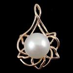 Pendants Pearl ujërave të ëmbla, Pearl kulturuar ujërave të ëmbla, Gjethe, natyror, e bardhë, 21x35x12mm, 10-11mm, : 2x5.5mm,  PC
