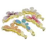 Clips banane Flokët, Alloy zink, ngjyrë ari praruar, me diamant i rremë, ngjyra të përziera, , nikel çojë \x26amp; kadmium falas, 105x29x26mm, 12PC/Qese,  Qese