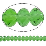 Rondelle Beads Crystal, Kristal, Gjelbër fier, 3x4mm, : 0.5mm, :11Inç, 10Fillesat/Qese,  Qese