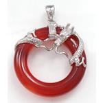 Pendants Red agat, Petull e ëmbël në formë gjevreku, 25x28x10mm, : 3.5x5mm, 5PC/Qese,  Qese