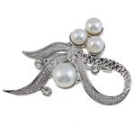 Pearl ujërave të ëmbla karficë, Pearl kulturuar ujërave të ëmbla, with Tunxh, Bowknot, e bardhë, 51x36x15mm,  PC