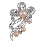 Pearl ujërave të ëmbla karficë, Pearl kulturuar ujërave të ëmbla, with Tunxh, Lule, rozë, 40x53x18mm,  PC