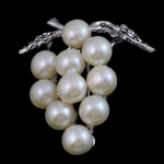 Pearl ujërave të ëmbla karficë, Pearl kulturuar ujërave të ëmbla, with Tunxh, Hardhi, e bardhë, 39x35x15mm,  PC