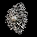 Karficë zbukurimi diamant i rremë, Lule, me diamant i rremë, argjend, 50x70x22mm,  PC