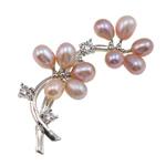 Pearl ujërave të ëmbla karficë, Pearl kulturuar ujërave të ëmbla, with Tunxh, Lule, rozë, 51x22x12mm,  PC
