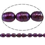 Rajs Beads ujërave të ëmbla kulturuar Pearl, Pearl kulturuar ujërave të ëmbla, Oriz, natyror, Pink fuchsia, Një, 9-10mm, : 0.8mm, :15Inç,  15Inç,