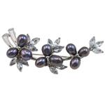 Pearl ujërave të ëmbla karficë, Pearl kulturuar ujërave të ëmbla, with Tunxh, Lule, e zezë, 57x27x16mm,  PC