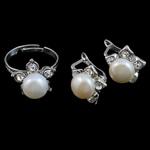 Natyrore kulturuar Pearl ujërave të ëmbla bizhuteri Sets, Pearl kulturuar ujërave të ëmbla, with Diamant i rremë, Round, natyror, e bardhë, 8-9mm, 14x15mm, : 16mm, :5.5,  I vendosur