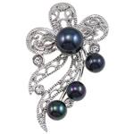 Pearl ujërave të ëmbla karficë, Pearl kulturuar ujërave të ëmbla, with Tunxh, Lule, e zezë, 40x53x18mm,  PC