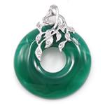 E gjelbër varëse agat, Jeshile agat, Petull e ëmbël në formë gjevreku, 30x38x6mm, : 3.5x5mm,  PC