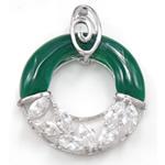 E gjelbër varëse agat, Jeshile agat, Petull e ëmbël në formë gjevreku, me diamant i rremë, 34.50x43x7.20mm, : 4.5x6mm,  PC