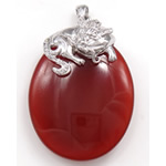 Pendants Red agat, Oval, 29x42x11.50mm, : 3x5mm,  PC