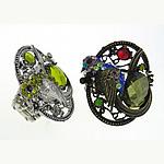 Zink Alloy Ring Finger, Alloy zink, me diamant i rremë, 38.5x41.5mm, 20.5mm, 10PC/Qese,  Qese
