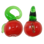 Bimët Pendants Lampwork, Perime, i kuq, 16x12x10.50mm, : 3.5x4mm, 200PC/Qese,  Qese