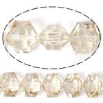 Imitim Swarovski Crystal Beads, Kristal, Gjashtëkëndësh, asnjë, imitim kristal Swarovski & makinë faceted, Silver shampanjë, 14x12x9mm, : 1mm, 100PC/Shumë,  Shumë