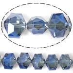 Imitim Swarovski Crystal Beads, Kristal, Gjashtëkëndësh, asnjë, imitim kristal Swarovski & makinë faceted, Lt Sapphire, 14x12x10mm, : 1mm, 100PC/Shumë,  Shumë