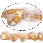 Imitim Swarovski Crystal Beads, Kristal, Zemër, asnjë, imitim kristal Swarovski & makinë faceted, Champagne Gold, 17x14x8mm, : 1mm, 100PC/Shumë,  Shumë