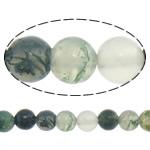 Natürliche Moos Achat Perlen, rund, 4mm, Bohrung:ca. 0.8-1mm, Länge:ca. 15 ZollInch, 10SträngeStrang/Menge, verkauft von Menge