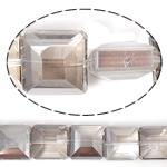 Imitim Swarovski Crystal Beads, Kristal, Katror, asnjë, imitim kristal Swarovski & makinë faceted, Greige, 14x14x8mm, : 1mm, 100PC/Shumë,  Shumë