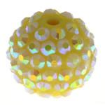 Beads diamant i rremë Rrëshirë, Rrëshirë diamant i rremë, Daulle, asnjë, i verdhë, 16x18mm, : 3mm, 100PC/Qese,  Qese