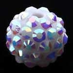 Beads diamant i rremë Rrëshirë, Rrëshirë diamant i rremë, Daulle, asnjë, e bardhë, 12x14mm, : 3mm, 100PC/Qese,  Qese