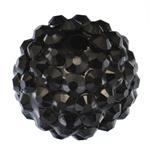 Beads diamant i rremë Rrëshirë, Rrëshirë diamant i rremë, Daulle, asnjë, me diamant i rremë, e zezë, 16x18mm, : 3mm, 100PC/Qese,  Qese