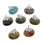 Pendants përziera gur i çmuar, with Alloy zink, Oval, me diamant i rremë, 40x37x12mm, : 4x7mm, 10PC/Qese,  Qese