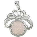 Pendants Natyrore kuarc, Rose kuarc, Shape Tjera, me diamant i rremë, 42x41x8mm, : 6x12mm, 10PC/Qese,  Qese