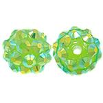 Beads diamant i rremë Rrëshirë, Rrëshirë diamant i rremë, Daulle, asnjë, e gjelbër, 10x12mm, : 2mm, 100PC/Qese,  Qese