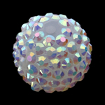 Beads diamant i rremë Rrëshirë, Rrëshirë diamant i rremë, Daulle, asnjë, e bardhë, 18x20mm, : 2mm, 100PC/Qese,  Qese