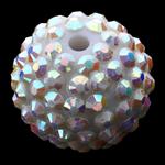 Beads diamant i rremë Rrëshirë, Rrëshirë diamant i rremë, Daulle, asnjë, e bardhë, 18x20mm, : 3mm, 100PC/Qese,  Qese