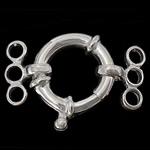 925 Sterling Silver Spring Ring kapje, argjend praruar vërtetë, 3-fije floku, asnjë, 13.5x13.5x4mm, 26mm,  PC