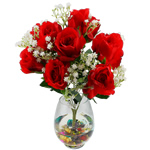 Lule artificiale Kryesore Dekor, Mëndafsh, Shape Tjera, i kuq, 490x330mm, 10PC/Qese,  Qese