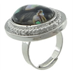 Shell Finger unaza, Shell Guaskë, Oval, i praruar, ngjyrë platin, 21x26mm, 16.5mm, :6, 10PC/Shumë,  Shumë