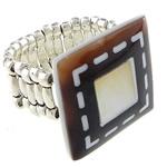 Shell Finger unaza, Predhë, Drejtkëndësh, i praruar, ngjyrë platin, 21.5x21.5mm, 22mm, :9, 10PC/Shumë,  Shumë