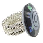 Shell Finger unaza, Predhë, Round Flat, i praruar, ngjyrë platin, 29x29mm, 22mm, :9, 10PC/Shumë,  Shumë