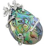 Pendants Natyrore predhë guaskë, Shell Guaskë, Lot, ngjyrë platin, 39x59x17mm, : 4.5mm, 10PC/Shumë,  Shumë