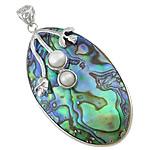 Pendants Natyrore predhë guaskë, Shell Guaskë, Oval, ngjyrë platin, 32x57x13mm, : 7x6mm, 5PC/Shumë,  Shumë