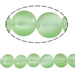 Cats Eye Perlen Schmuck, Katzenauge, flache Runde, grün, 10x4mm, Bohrung:ca. 1mm, ca. 37PCs/Strang, verkauft per ca. 14.9 ZollInch Strang