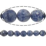 Blauer Tupfen Stein Perlen, blauer Punkt, rund, Maschine facettiert, 12mm, Bohrung:ca. 2mm, Länge:ca. 15 ZollInch, 5PCs/Menge, ca. 32PCs/Strang, verkauft von Menge