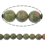Beads Unakite, Round, 10mm, : 1mm, :15Inç, 5Fillesat/Shumë,  Shumë
