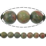 Beads Unakite, Round, i importuar, 6mm, : 1.5mm, :16Inç, 10Fillesat/Shumë,  Shumë