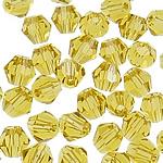 Imitim Swarovski Crystal Beads, Kristal, Bicone, ngjyrë platin praruar, Ngjyrë e verdhë, 4x4mm, : 1mm, 50PC/Qese,  Qese