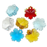 Crystal Pendants, Kristal, Lule, ngjyra të përziera, 12.50x14x8.50mm, : 1mm, 10PC/Qese,  Qese