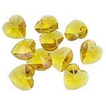 Crystal Pendants, Kristal, Zemër, Topaz, 14x14x7.50mm, : 1mm, 10PC/Qese,  Qese
